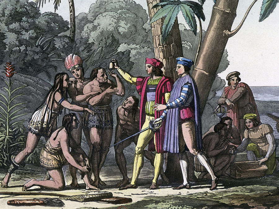 Christopher Columbus and his men encounter people of the New World.