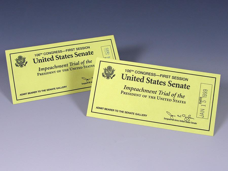 Tickets to Bill Clinton's impeachment trial in the U.S. Senate.