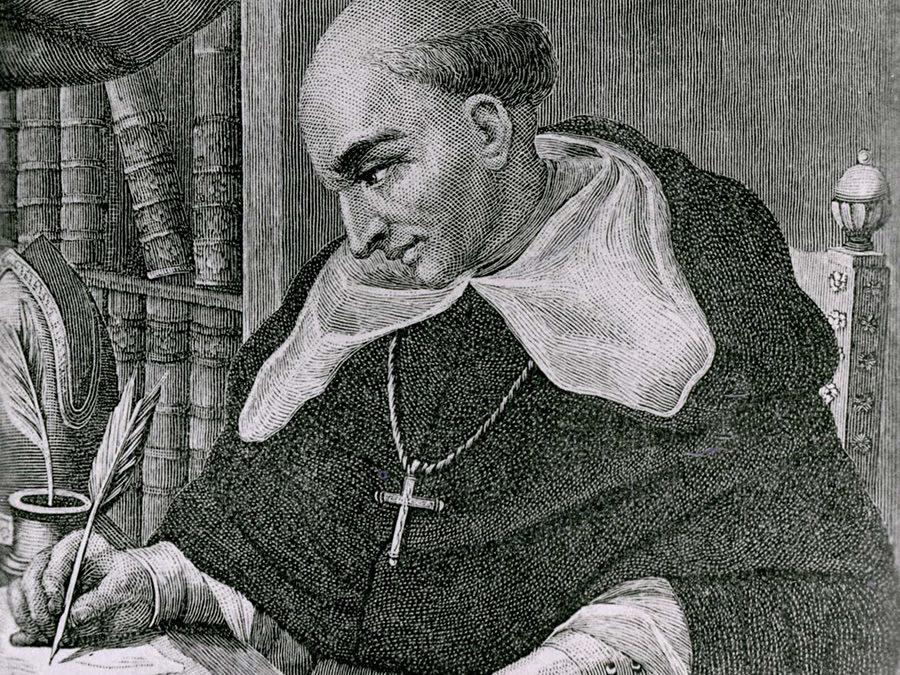 Etching of Bartolomé de Las Casas writing.