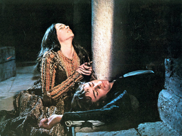 Olivia Hussey (Juliet) and Leonard Whiting (Romeo) in Franco Zeffirelli's Romeo and Juliet (1968).