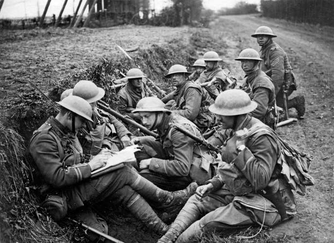 British soldiers in a trench