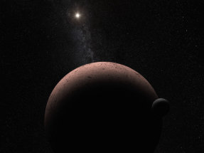 This artist's concept shows the distant dwarf planet Makemake and its newly discovered moon.