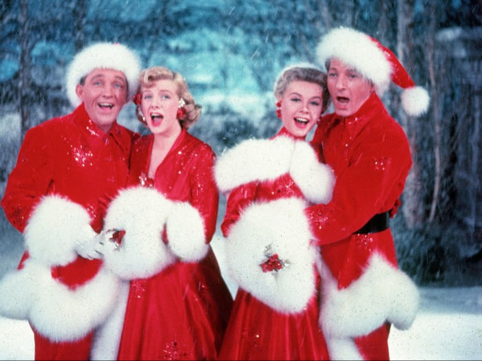 Bing Crosby, Rosemary Clooney, Vera-Ellen, and Danny Kaye in White Christmas (1954).