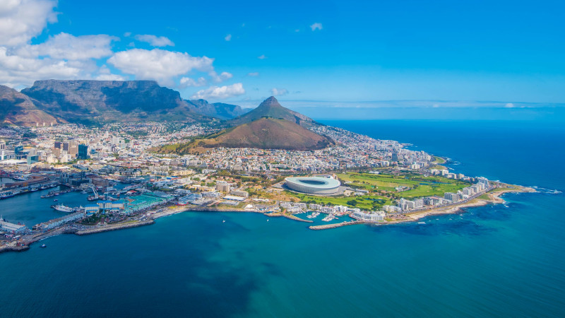Cape Town, South Africa (aerial view from a helicopter)