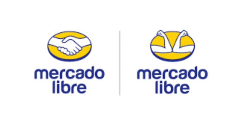 MercadoLibre handshake logo next to a version touching elbows