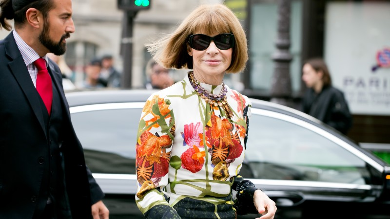 Vogue's Anna Wintour going to a fashion show at Paris fashion week