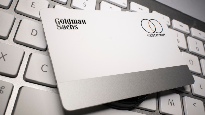 Physical Apple Mastercard Credit Card backed by Goldman Sachs on an Apple keyboard.