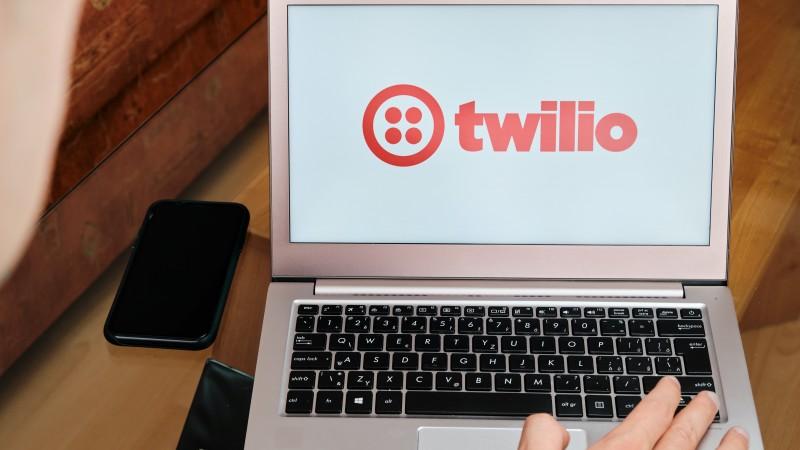 Twilio logo on a laptop screen