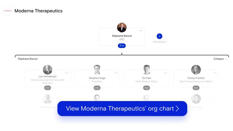 Moderna's org chart on The Org