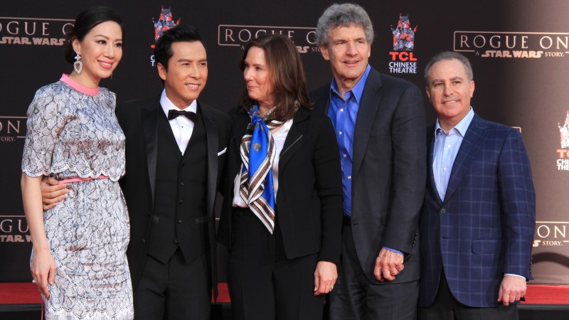 Cissy Wang, Donnie Yen, Kathleen Kennedy, Alan Horn, Alan Bergman at the Donnie Yen Hand And Footprint Ceremony at TCL Chinese Theater IMAX on December 1, 2016 in Los Angeles, CA