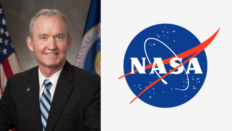 W. Russ DeLoach's headset next to the NASA logo