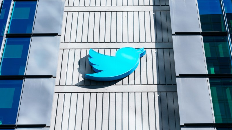 Twitter logo on the side of a building