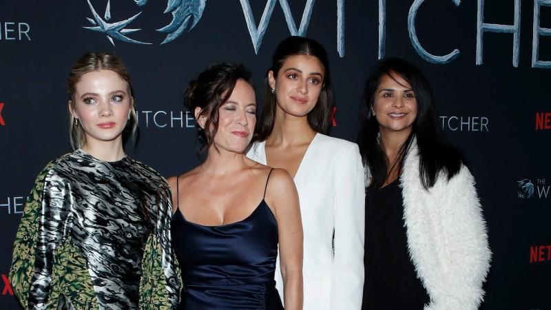 "Freya Allan, Lauren Schmidt Hissrich, Anya Chalotra, Bela Bajaria at Netflix ""The Witcher"" Premiere Screening in Los Angeles,"