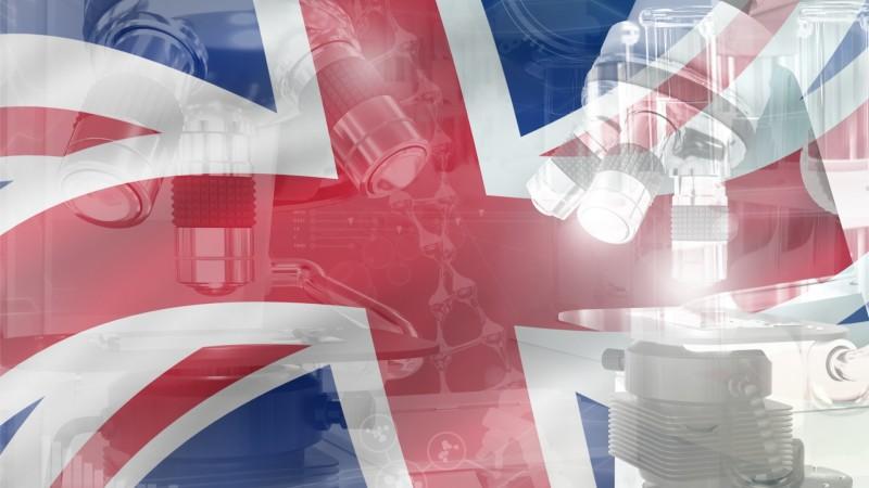 Microscope on United Kingdom (UK) flag