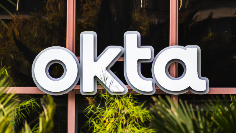Close up of OKTA logo at their headquarters in SOMA district
