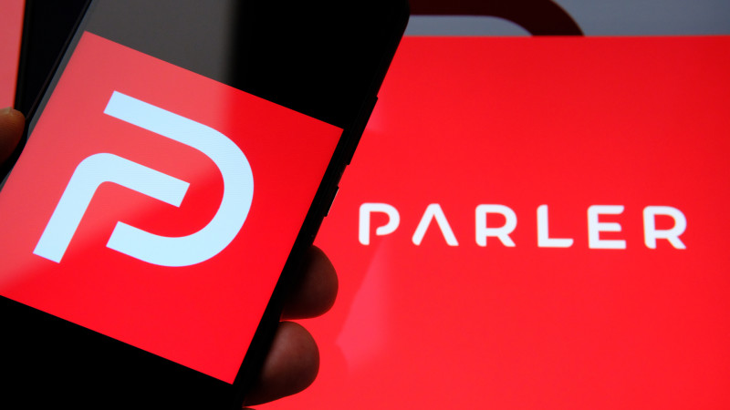 Parler app logo seen on the screen of smartphone
