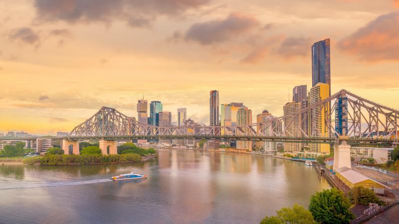 The Brisbane, Australia city skyline