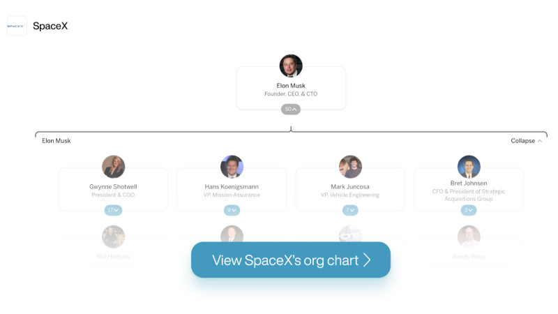 SpaceX's org chart on The Org