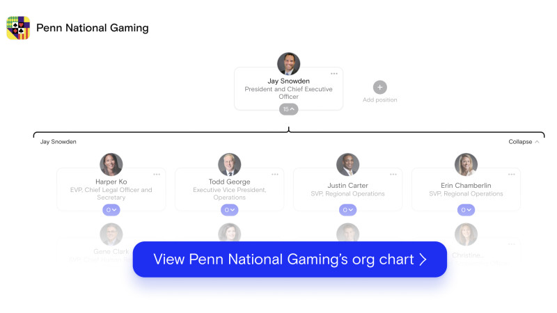 Penn National Gaming's org chart on The Org