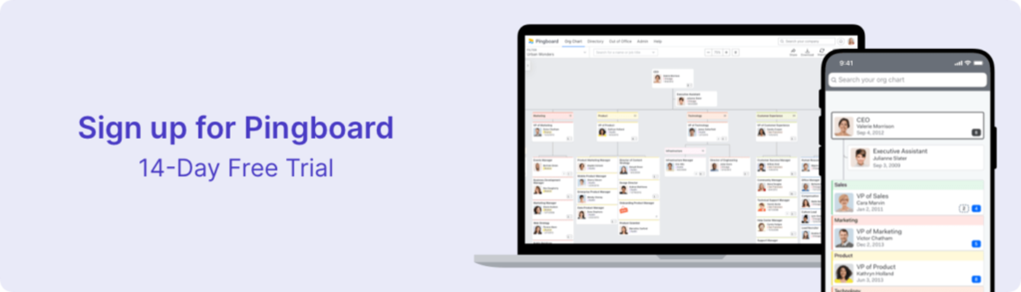 Sign up for Pingboard 14-day free trial