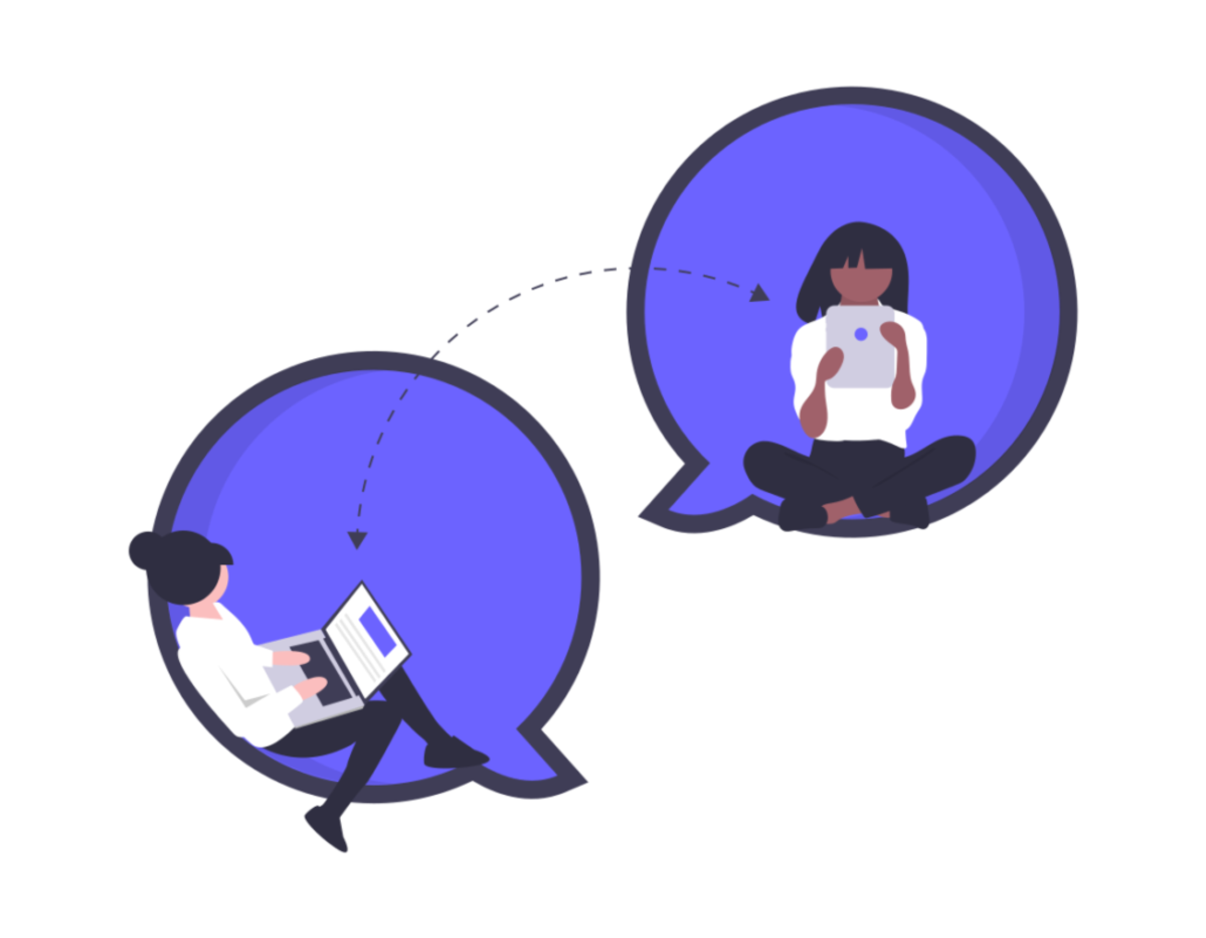 Illustration of two coworkers doing real time remote collaboration