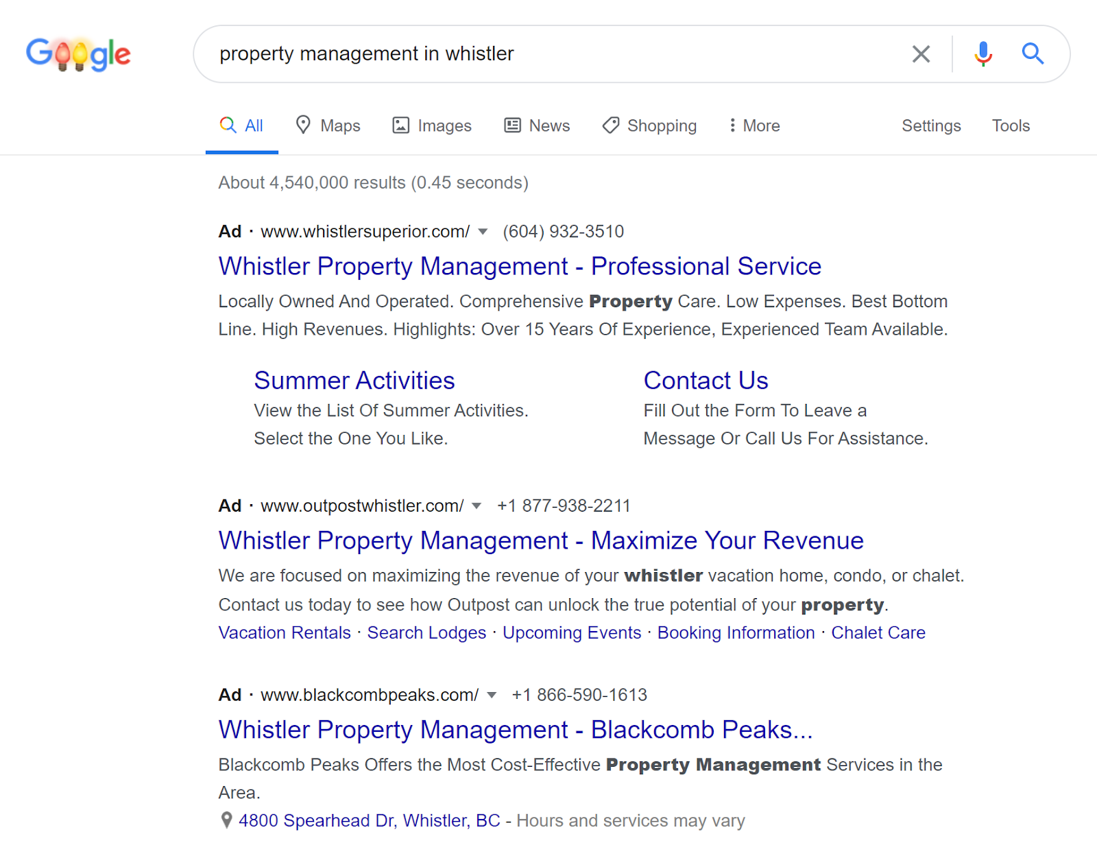 PPC Property Management in Whistler