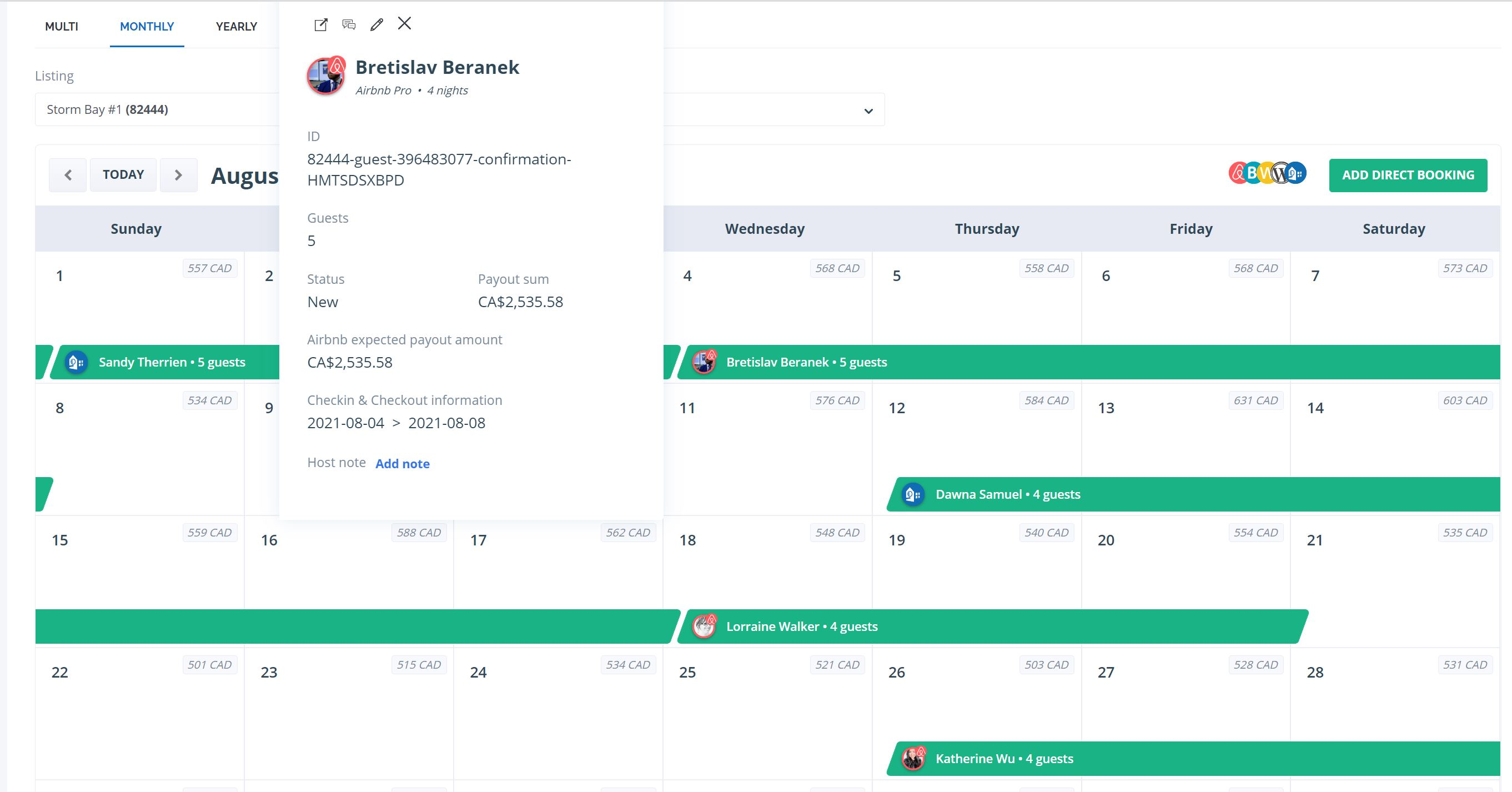 Hostaway - Multi-Calendar
