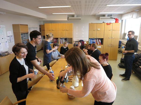 Futu designers taking a break in the school staff room