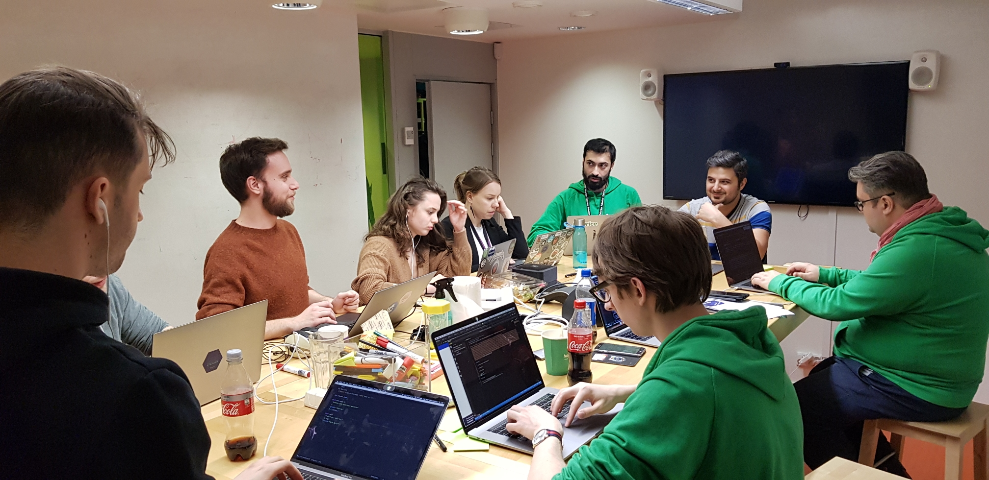 Team working on open source documentation