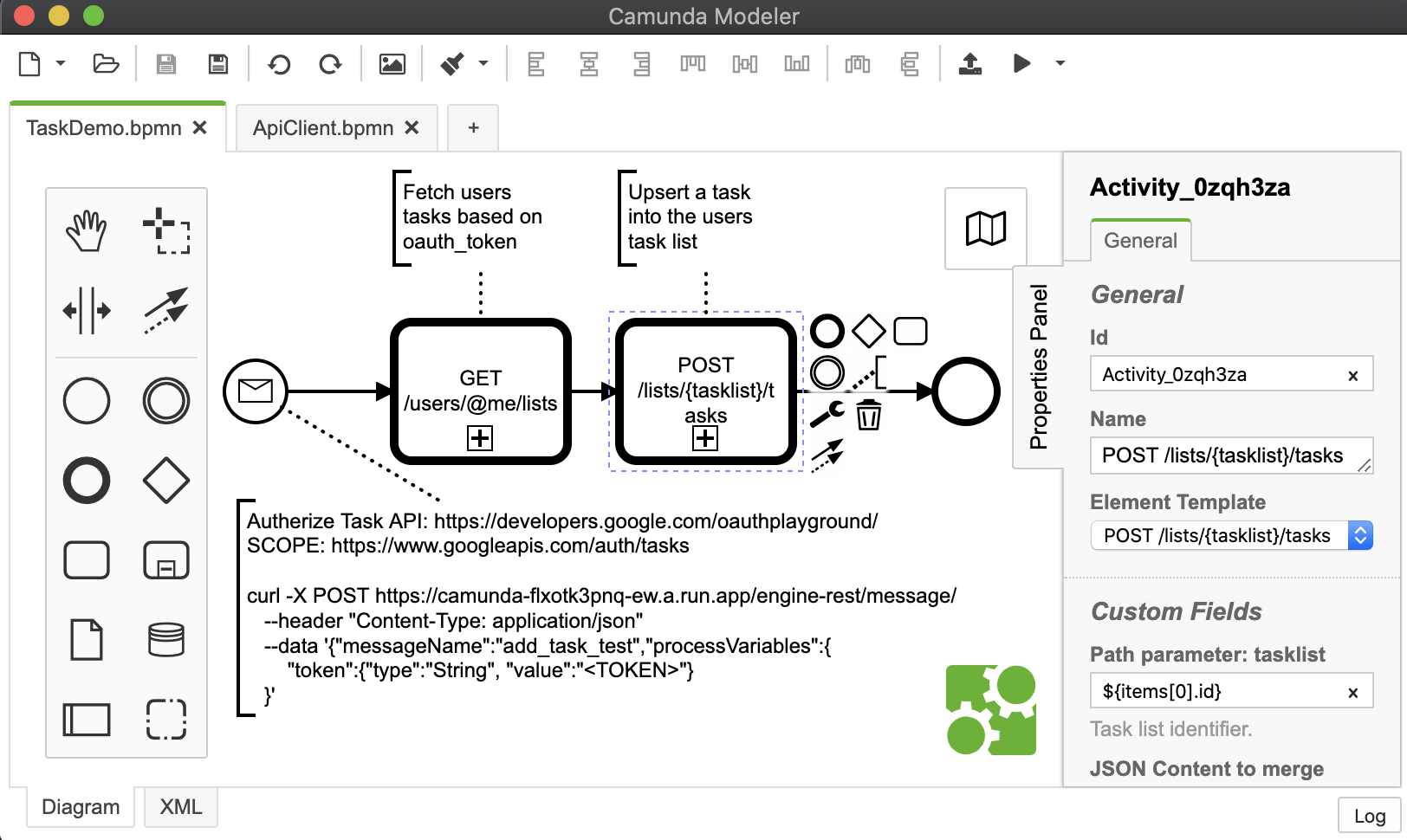 BPMN OpenAPI demo diagram