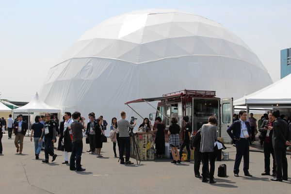 The futuristic domes at the event grounds.