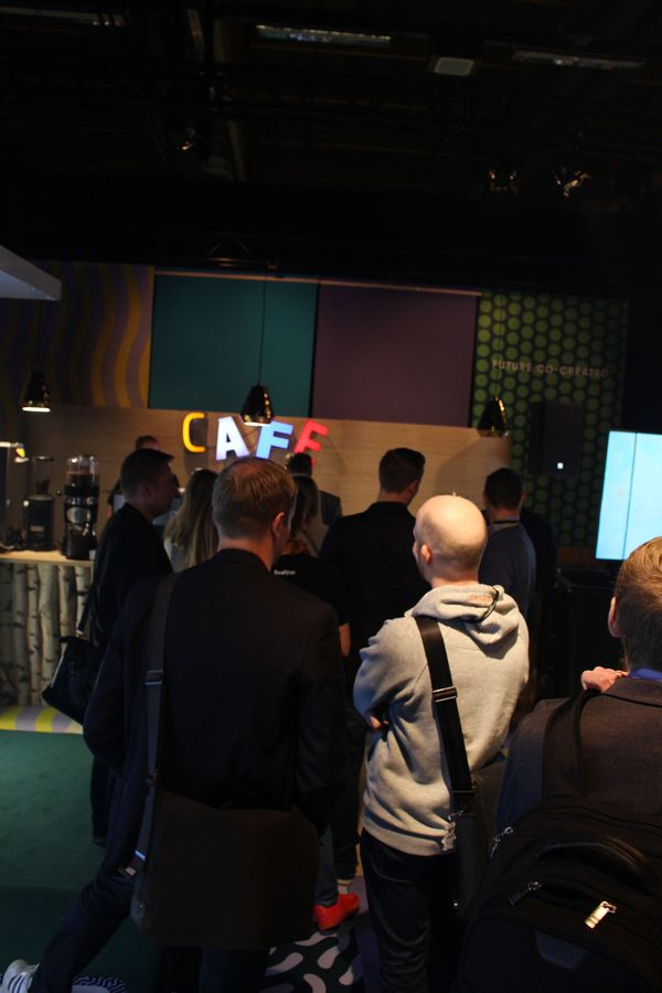 Attendees wait in line at the Futucafe.