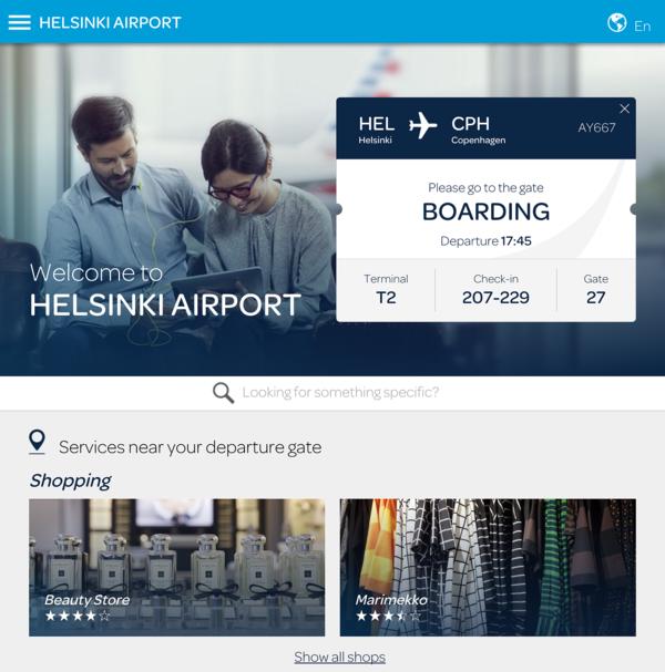 Helsinki Airport WiFi landing page