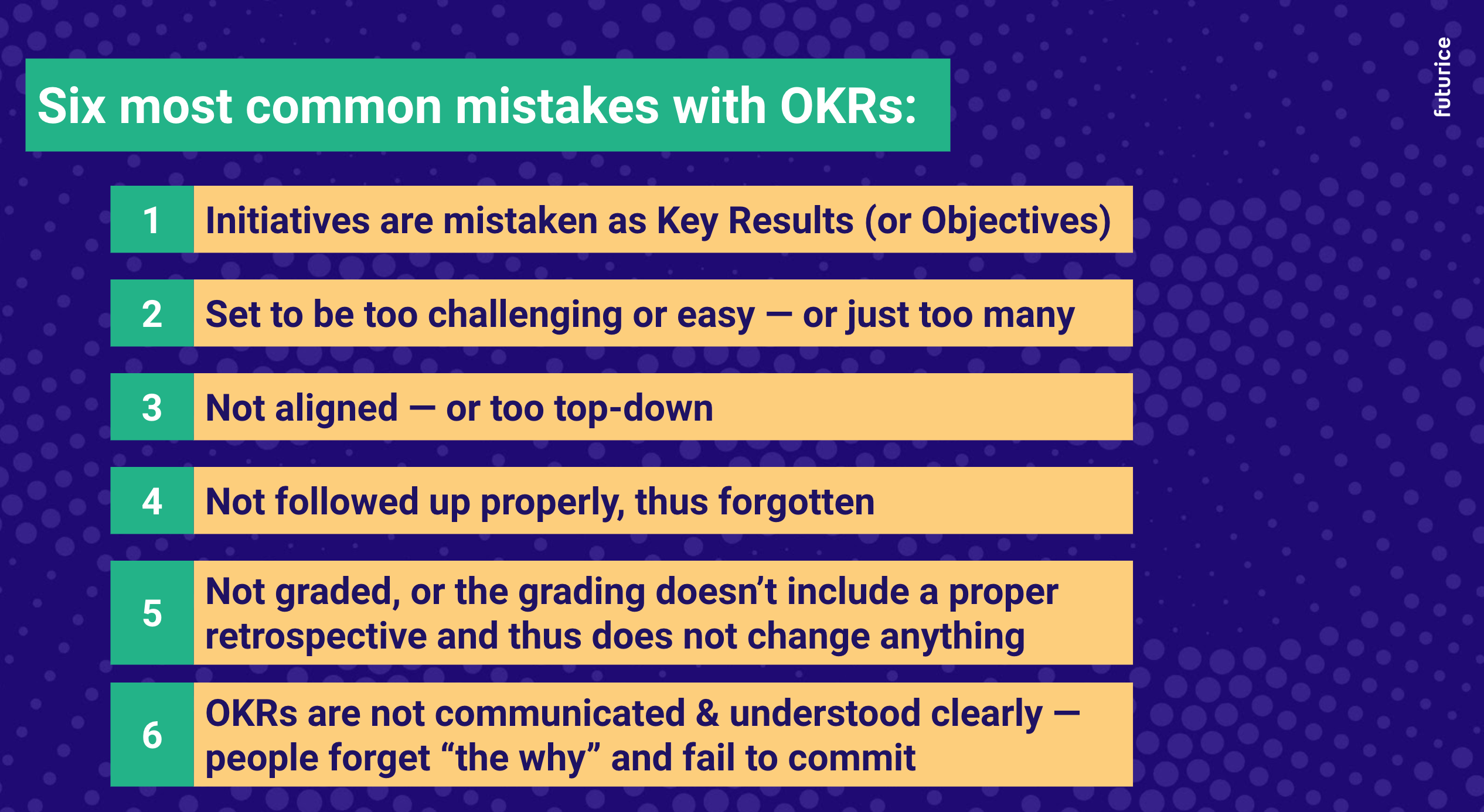 Six common mistakes with OKRs