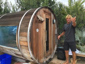 Laird Hamilton welcoming into the sauna