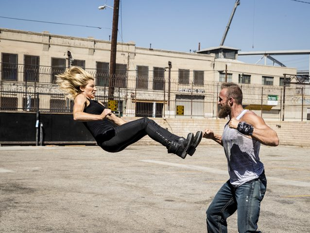 Heidi Moneymaker jump kicking scene