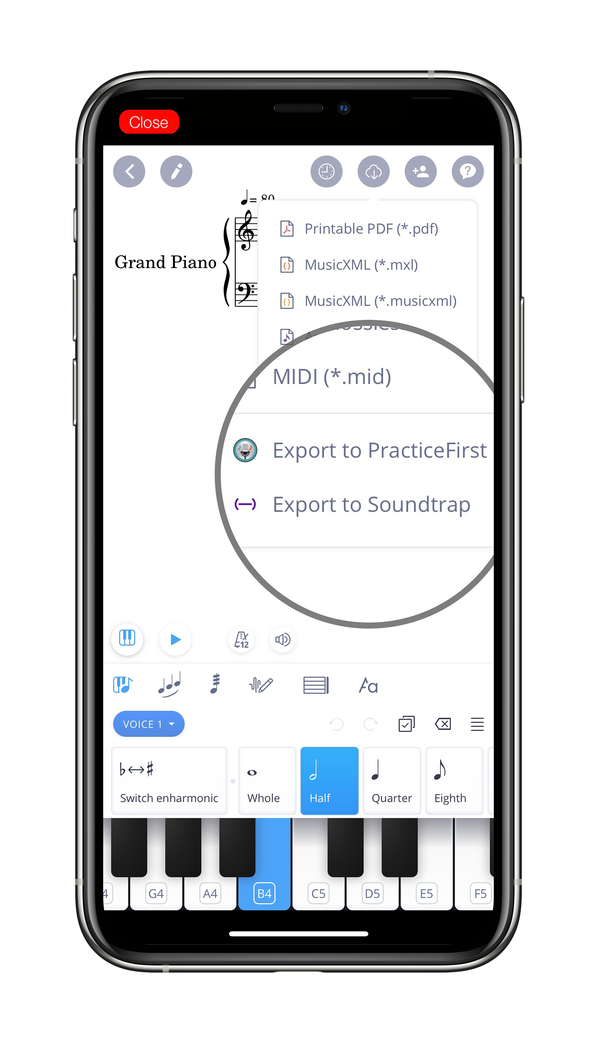 Flat for Education app open on iPhone. Export to PracticeFirst & Export to Soundtrap function magnified.
