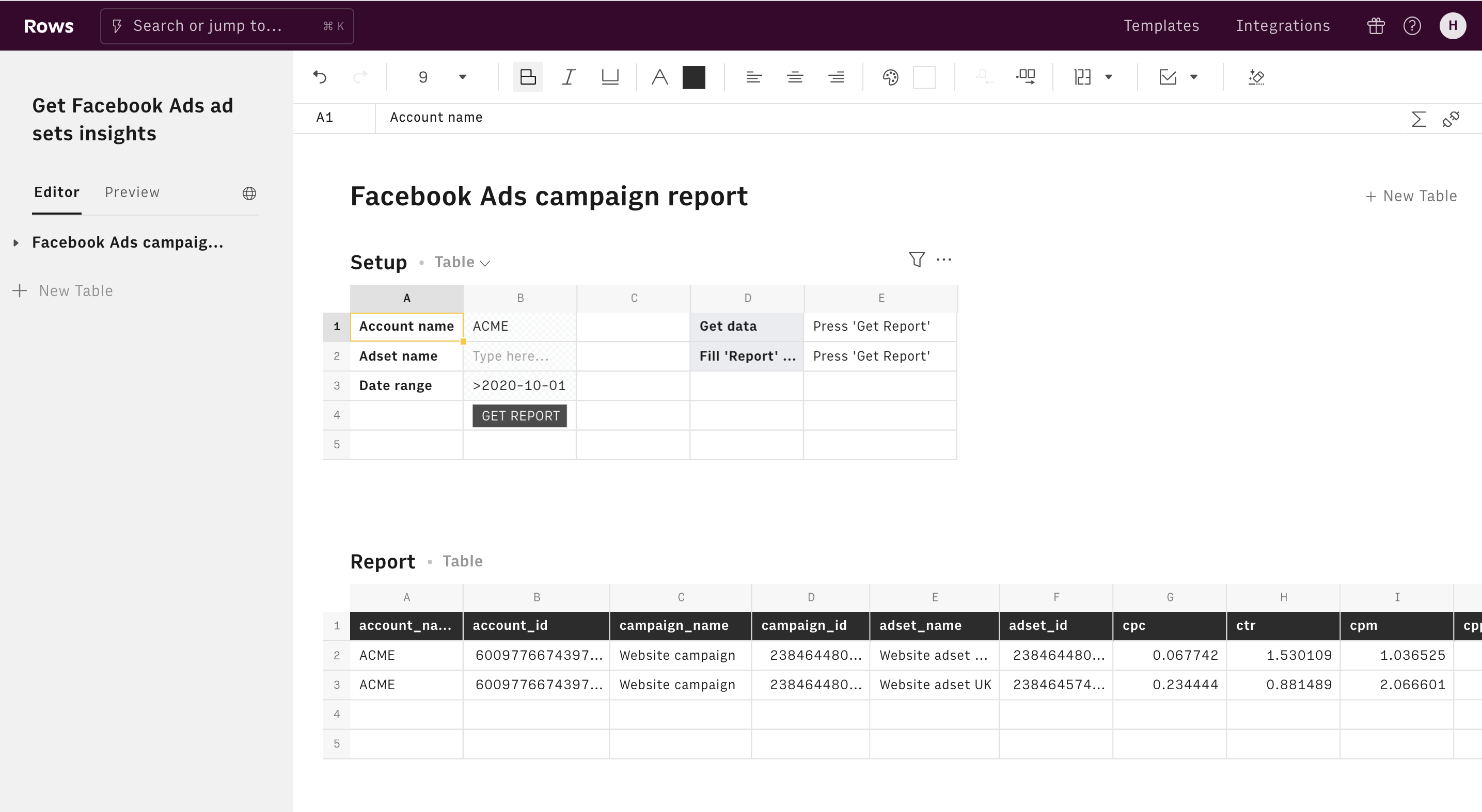 Get Facebook Ads ad sets insights editor 1