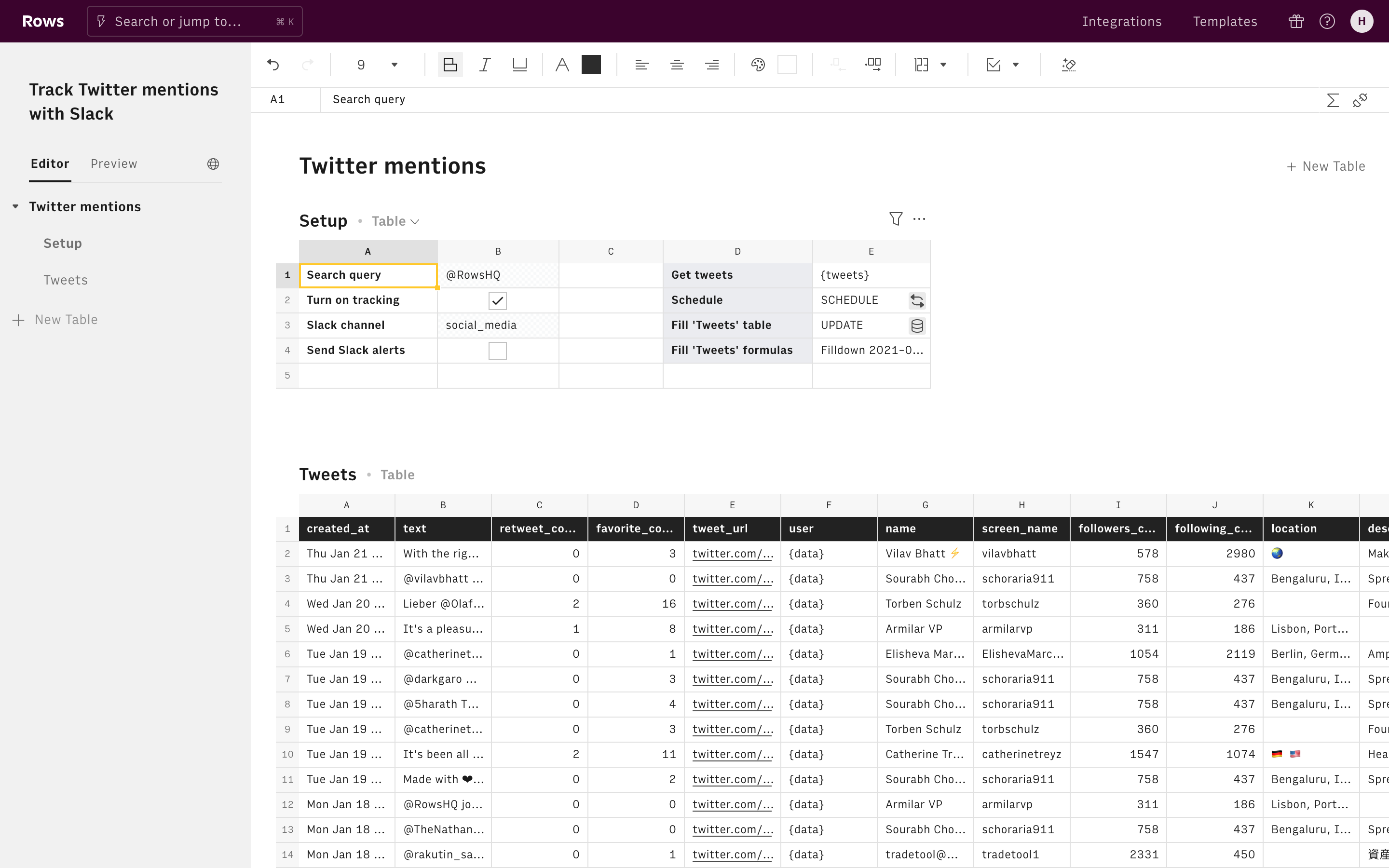 Track Twitter mentions with Slack Editor