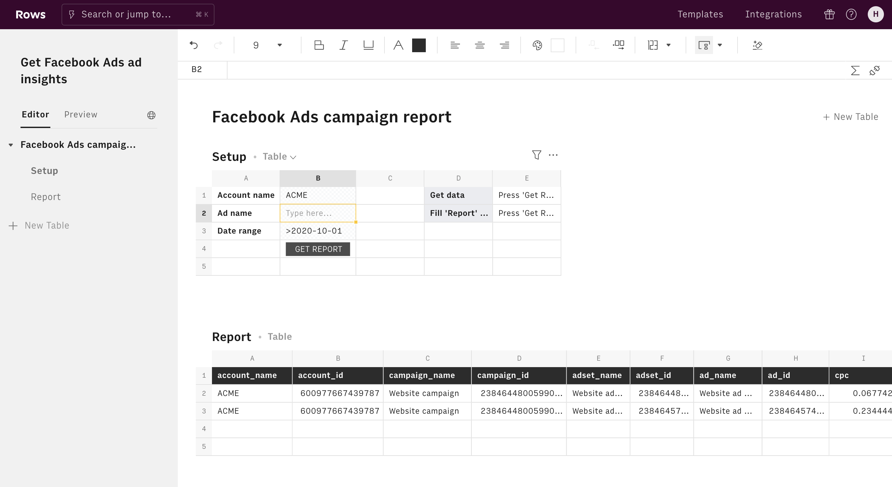 Get Facebook Ads ad insights editor 1