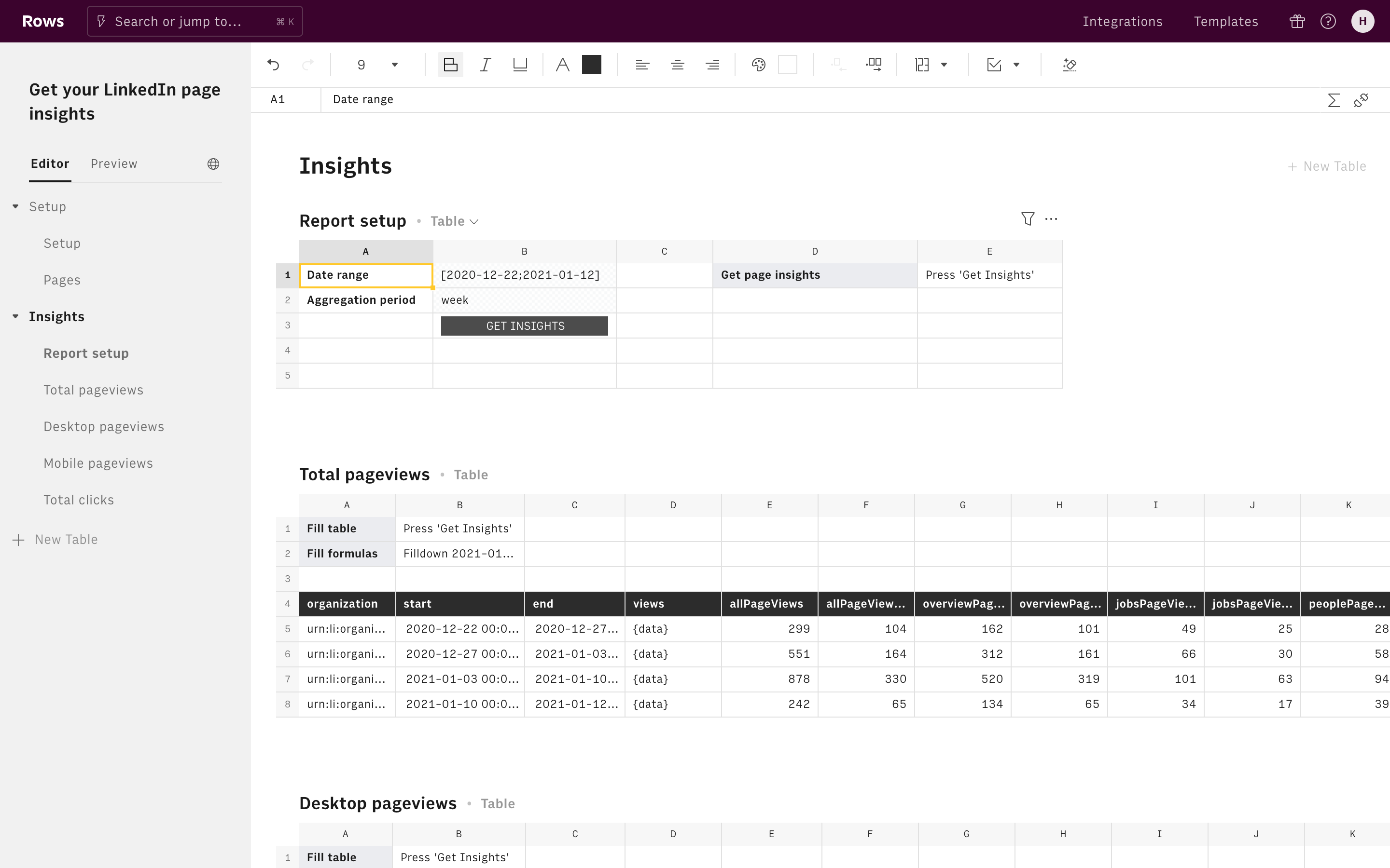 Get your LinkedIn page insights Editor Report Setup and Total Pageviews