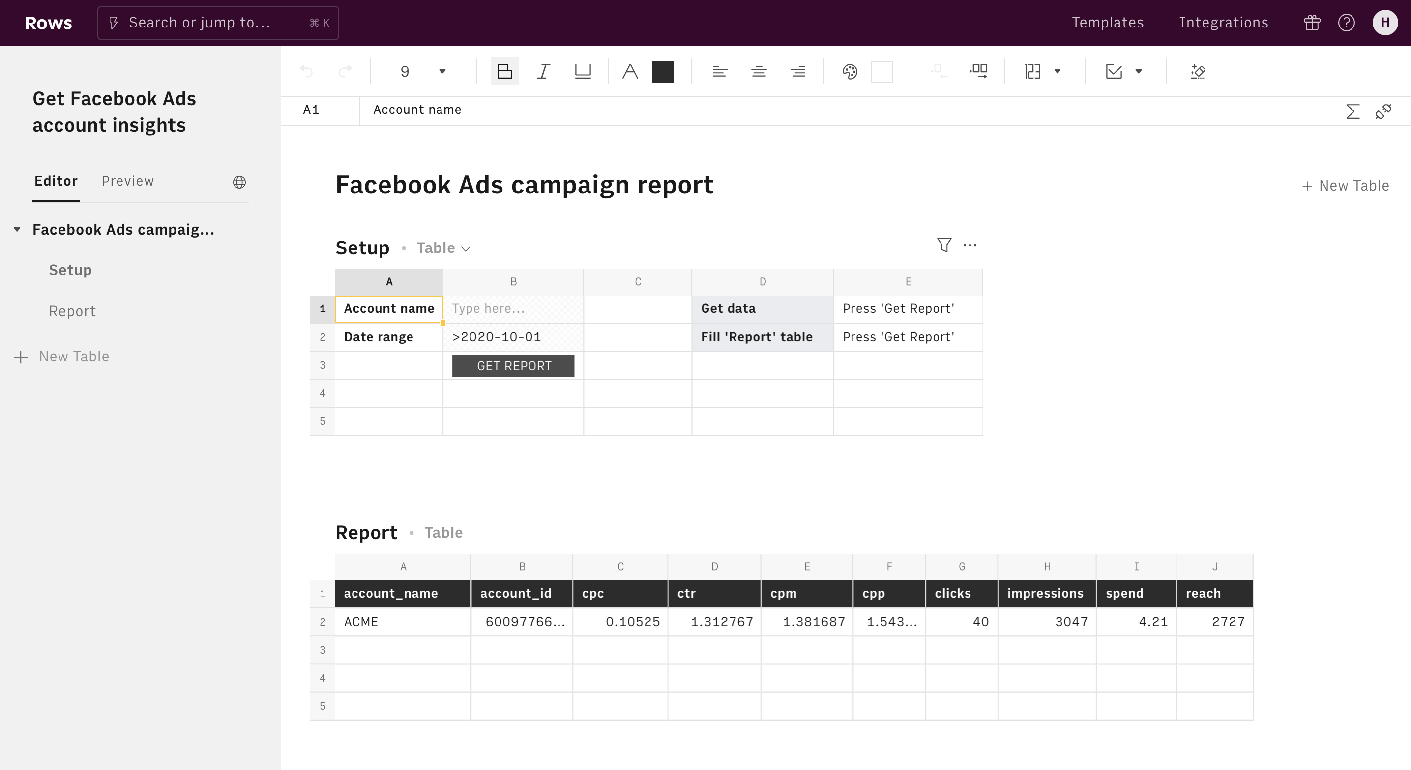 Get Facebook Ads account insights editor 1