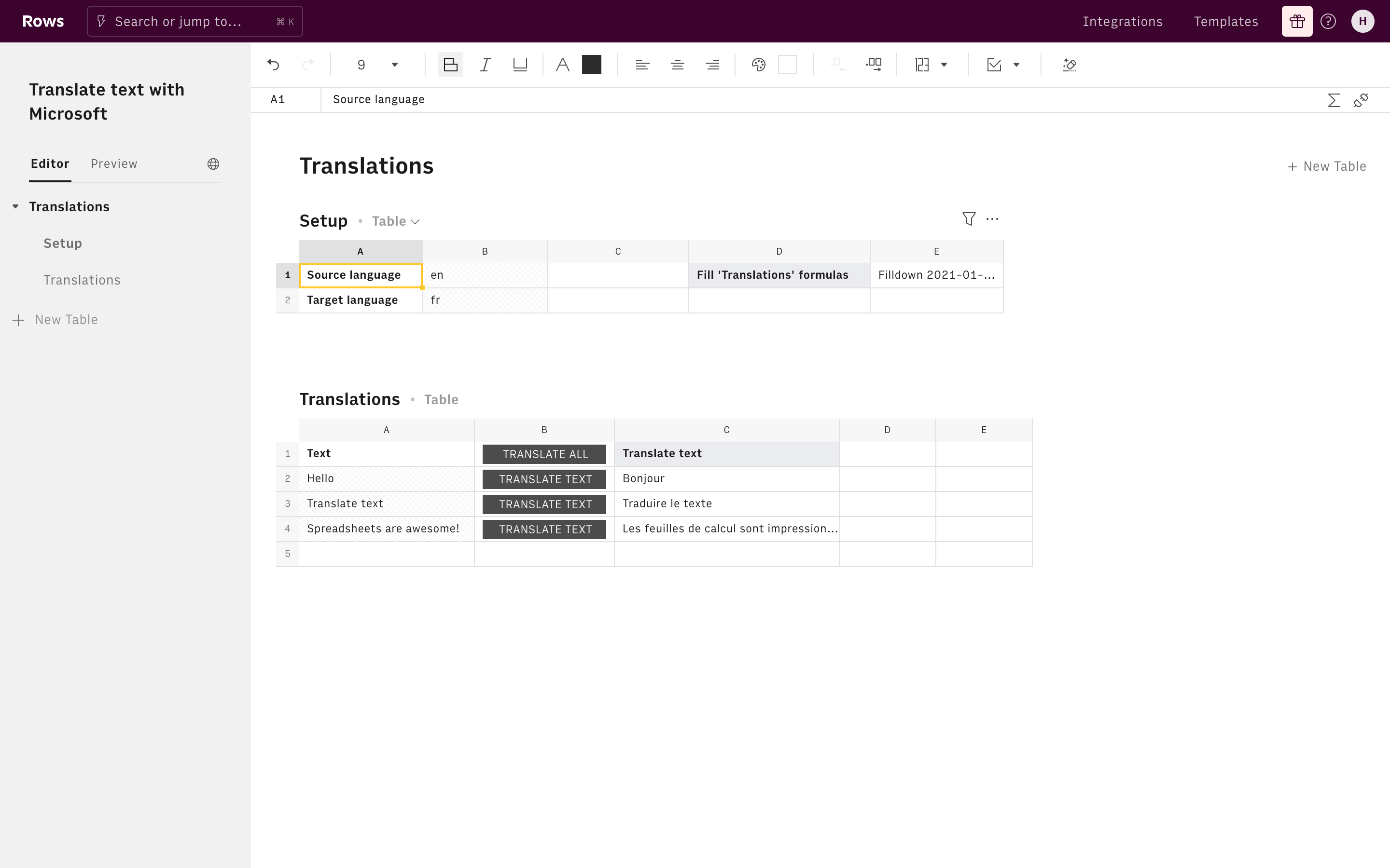 Translate text with Microsoft Editor