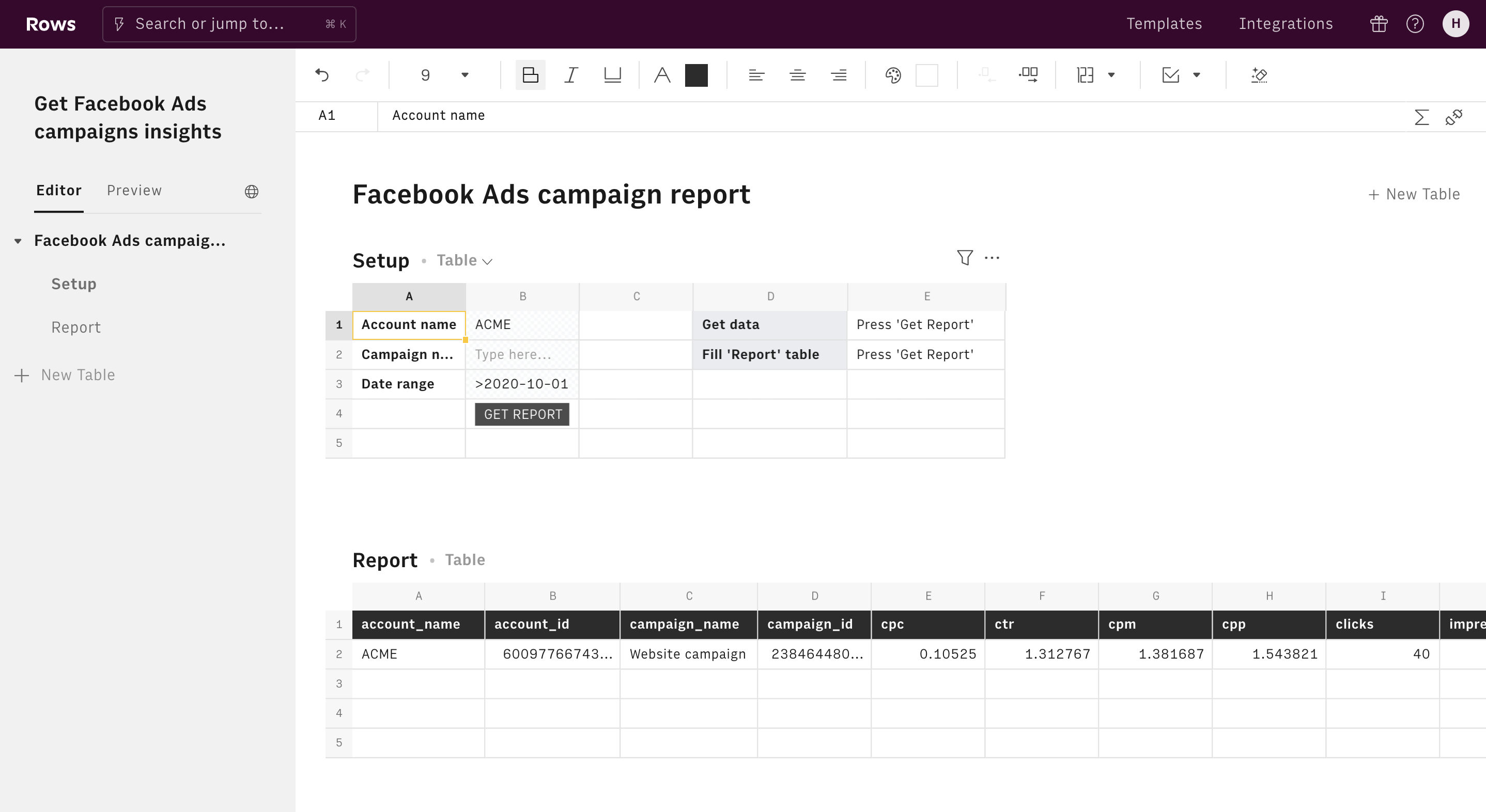 Get Facebook Ads campaigns insights editor 1