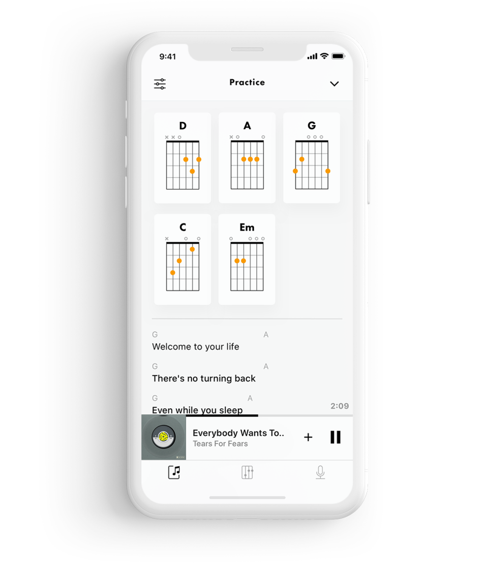 A phone showing practice mode in Fender Songs