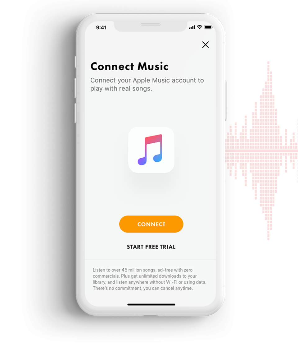 A phone showing a connection to Apple Music