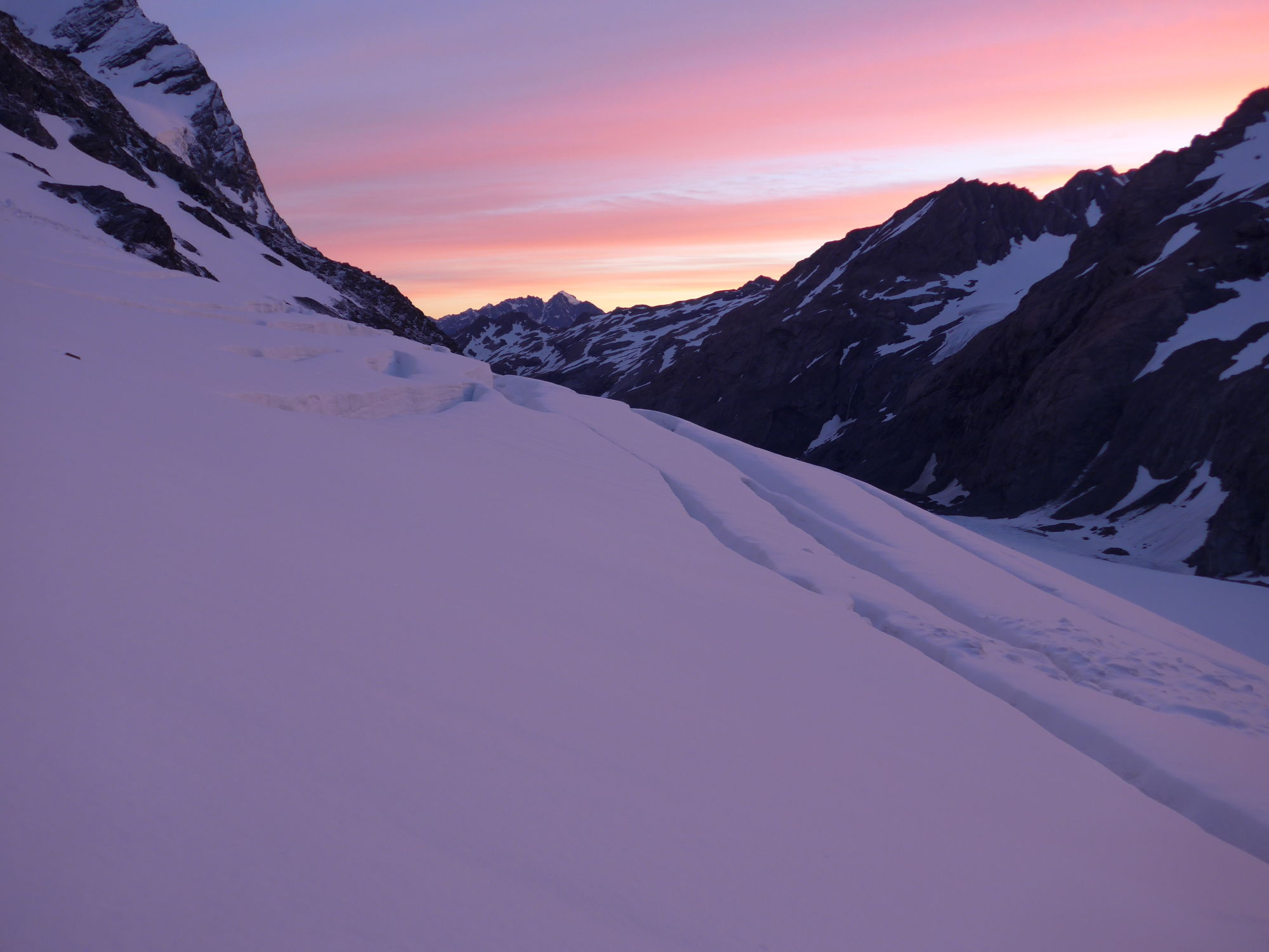 Sunrise in the Southern Alps of New Zealand while ascending Mount Burns.