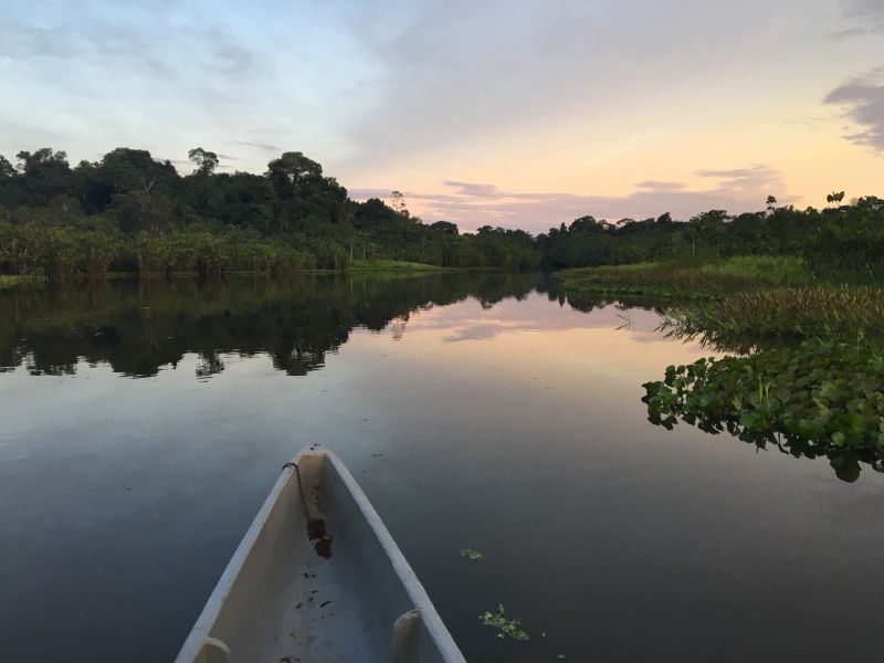 Canoe approach into Sani Lodge Amazon