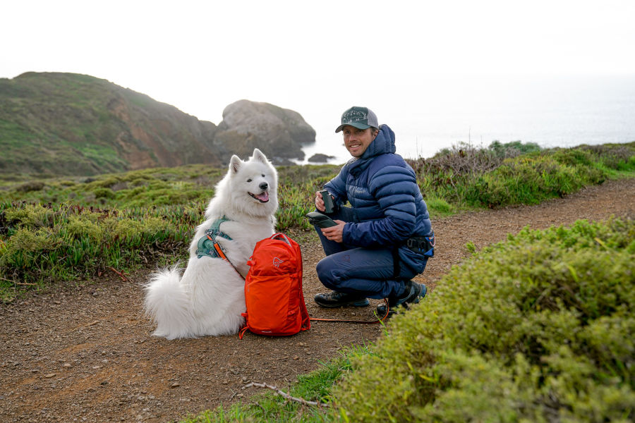 Out and about in the Marin Headlands, San Francisco - Charles Post with his dog and the new CL Pocket binoculars