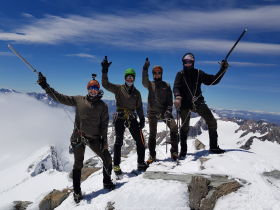 Wolfgang Schwarz and his party reached the top of Mount Burns (2.746 m), New Zealand.